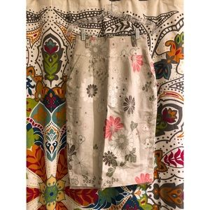 ESCADA tan pink floral pencil brocade knee skirt